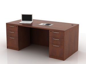 OFW TL Double Pedestal Rectangular Desk with BBF 36x72